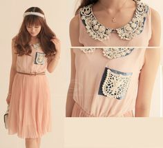 Sweet Pan Collar Pleated Sleeveless Chiffon Women's Dress with Belt $15.91 fashiondresswholesale.com