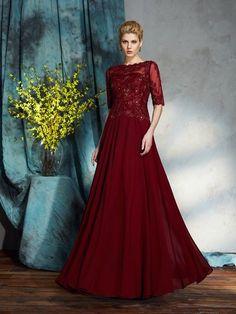 Stylish A-Line Princess Applique 1 2 Sleeves Bateau Long Chiffon Mother of  the Bride Dresses fb8c3340bcce