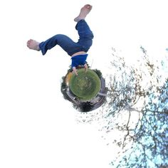 Alan doing a handstand on his own tiny planet. #madewithtinyplanets