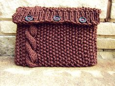 Knitted Laptop Sleeve Computer Cozy Electronic Case Brown Cable Knit With Buttons Gadget Accessories