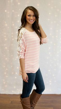 The Pink Lily Boutique - Oh So Fancy Lace Blouse Pink, $35.00 (http://thepinklilyboutique.com/oh-so-fancy-lace-blouse-pink/)