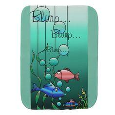 "Colorful Fish Family ""Blurp"" Burp Cloth"