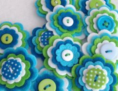 SUMMER x3 Handmade Layered Felt Flower Button Embellishments Brooche Wool Mix Felt, Teal, Turquoise, Lemon, White