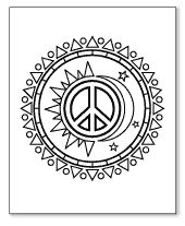 sun and moon peace sign coloring page