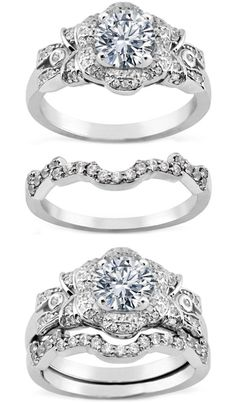 Diamond Bows & Flower Engagement Ring & Matching Wedding Band