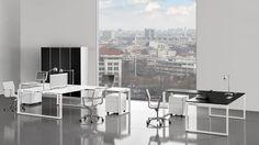 Doppelarbeitsplatz Winkelkombination mit weißer Arbeitsplatte und Winkeltisch rechts oder links Metall Schreibtischgestell mit weißer Pulverbeschichtung und Rollcontainer weiß mit Griffüberstand