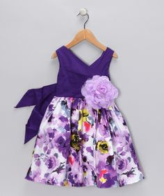 Purple Floral Surplice Dress - Toddler & Girls