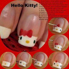 Hello Kitty Crochet Hat Pattern Free Video Hello Kitty nail art tutorial Source by Nails For Kids, Girls Nails, Latest Nail Designs, Nail Art Designs, Fancy Nails, Pretty Nails, Hello Kitty Crochet, Art Rose, Hello Kitty Nails
