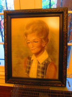 1970s Pastel Painting / Beautiful Woman Portrait Signed Carved Wood Frame / Retro Palm Springs by lipmeister on Etsy https://www.etsy.com/listing/398196313/1970s-pastel-painting-beautiful-woman