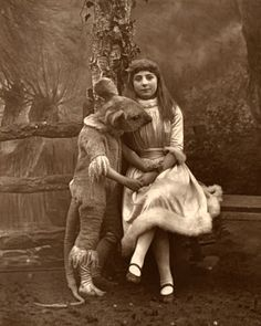 Another relic from Alice in Wonderland, a photograph depicting Alice and the dormouse, 1887.