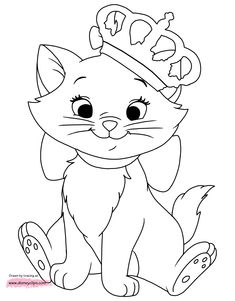 Disney Animals Coloring Book Luxury Disney Aristocats Marie Coloring Pages Disney Princess Coloring Pages, Disney Princess Colors, Disney Princess Drawings, Disney Colors, Disney Drawings, Drawing Disney, Disney Princesses, Snow White Coloring Pages, Cat Coloring Page