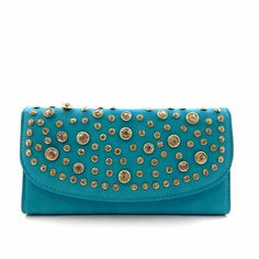 """Rhinestone Stud Accent Trifold Wallet - Turquoise. Dimensions - 7.5""""L x 1""""W x 4""""H. Faux-leather. Gold-tone harware. Interior - 1 ID windows, 11 credit card slots, 3 bill slots, and 1 zipper pocket. Closure - magnetic snap."""