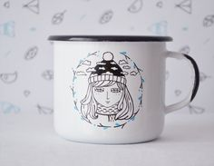 Traditional polish enamel mug. Designed and handpainted by nokk. Illustrations have been designed and handpainted by us on the high quallity enamel