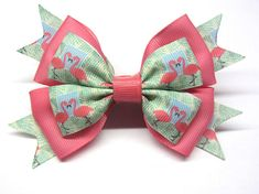 Mint pink bow Girl pink hairbow Pink baby Holiday girls hair