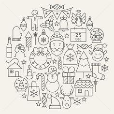 Stock fotó: Karácsony · új · év · ünnep · vonal · ikon · szett · körkörös
