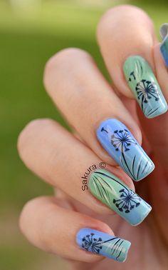 Green and Blue Spring Nail Art.