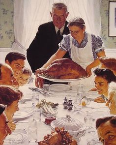 Norman Rockwell, this reminds me of Thanksgiving at my Grandma and Grandpa Burton's house. <3