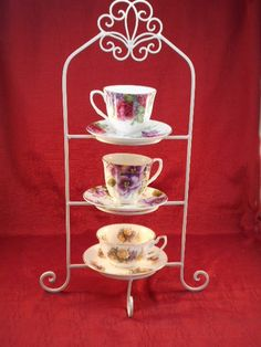 4-Tier Twisted Wire Tea Cup Saucer Display Stand Metal Rack Shabby Chic Heart