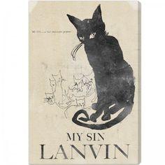 My Sin Lanvin Vintage Poster Print Black Cat Perfume Retro Art And Illustration, Illustrations, Illustration Fashion, Perfume Ad, Vintage Perfume, Lanvin Perfume, Posters Vintage, Black Cat Art, Black Cats