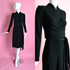 1940's Vintage Black Textured Rayon Draped by RubyFayesVintage