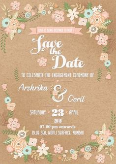 Best Save The Date Invites for your Indian Wedding! Unique, Simple, Florals & More - The Urban Guide - Floral e-vite engagement save the date invite // awesome engagement save the date invites with a vi - Marriage Invitation Quotes, Wedding Invitation Card Wording, Electronic Wedding Invitations, Engagement Invitation Cards, Marriage Cards, Engagement Cards, Invites, Engagement Quotes, Invitation Templates