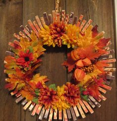 Fall Harvest Clothes Pin Wreath
