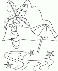 Beach Vacation A Simple Drawing Of Tropical Island Coloring Page