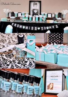 Tiffany & Co. themed bridal shower. Breakfast at Tiffany's Party. By beauty blogger Belinda Selene.   What a great idea for a party theme!