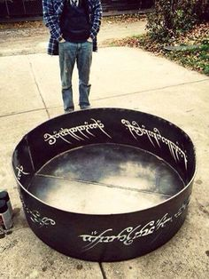 Plasma cut Lord of the Rings fire pit. 4' diameter out of 10ga steel.