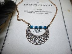 The Selene Moon Gypsy boho Necklace. Turquoise Blue Apatite baby blue crystal and copper filigree Victorian Crescent moon necklace