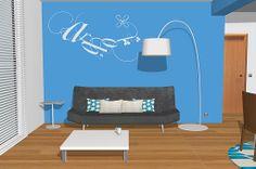 Vamos a ver dónde tenemos colocado el sofá el cual es muy actual y cómo podemos ver muy cómodo  lo tenemos en un color gris oscuro que combina muy bien con el color que tenemos en la pared y la viga ya que es un vistoso color azul turquesa el cual hace juego con los cojines que hay encima del sofá, también hemos colocado un bonito vinilo decorativo de Flor4U de la colección Fauno