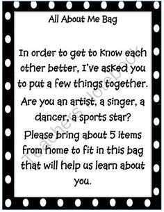 Back to School: All About Me Bag from Artsy Smartsy on TeachersNotebook.com (1 page)