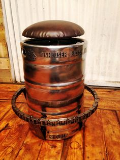 Industrial Beer Keg Bar Stools Pub House Rustic Swivel Faux Leather Seat