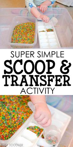 Rice Scoop and Transfer - Busy Toddler - Check out this super simple rice scoop and transfer activity from Busy Toddler! This quick and easy toddler activity is perfect for life skills practice; Activities For 2 Year Olds, Autism Activities, Toddler Learning Activities, Sensory Activities, Craft Activities For Kids, Infant Activities, Sensory Bins, Sensory Play, Sensory Table