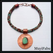 Kumihimo Necklace With Turquoise And Copper Pendant