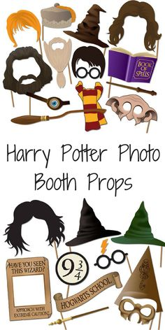 Pritnable Harry potter photo booth props, perfect for a birthday party! #harrypotter #photobooth #printable #wizard #affiliatelink