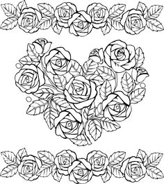Раскраски «Сердца» - «Сердце и красивые розы» Adult Coloring Pages, Coloring Books, Colouring, Paper Crafts, Embroidery, Pictures, Wood Burning, Stress, Heart