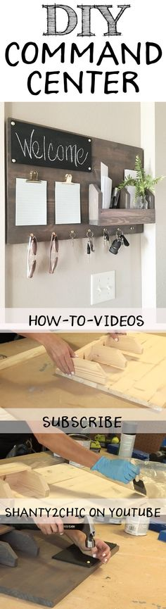Perfect way to organize all of your junk! Build this DIY Command Center with this how-to video and free printable plans from www.shanty-2-chic.com