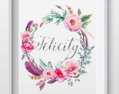 Hand-made, personalised prints, gifts, and homewares by LittleBilliBoho Personalised Prints, Feathers, Arrow, Etsy Seller, Wreaths, Boho, Crystals, Creative, Floral