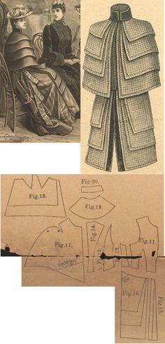 Der Bazar 1889: Wintertime mantle from grey checked English woollen; 11. front bodice part, 12. and 13. bodice's side gores, 14. bodice's back gore, 15. and 16. mantle's front peplums, 17. mantle's downmost pelerine part, 18. and 19. Mantle's upper pelerines in half sizes, 20. standing collar in half size