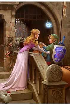 """Link, wait"" Zelda told me as I was riding into the gate. The suitor competition was here and I was ready to fight for her hand. I ask her ""what is it Zelda?"" She said "" I want you to have this, for good luck"" as she put a blue scarf with the triforce symbol on it. I accepted it, and then told her with a smile ""Thank you"" and then kissed her on the cheek and said ""Well here I go"" and rode off with the rest of the suitors."