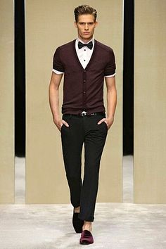 short sleeve cardigan and button up with bow tie, black buttons on the shirt