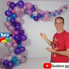 balloon arch - Organic Arch and Garland - gustavo gg - - de globos columnas Balloon Columns, Balloon Garland, Balloon Arch, Balloon Decorations Party, Birthday Party Decorations, Birthday Parties, Mermaid Birthday, Boy Birthday, Deco Ballon