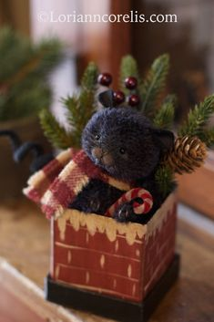 The Spotted Hare ~ by Lori Ann Corelis Felt Crafts, Christmas Crafts, Christmas Decorations, Christmas Ornaments, Christmas Ideas, Merry Christmas, Christmas Time, Old Teddy Bears, Vintage Teddy Bears