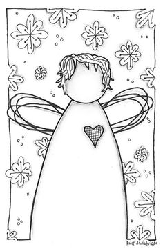 Snow Angel by Ruth Davis, via Colouring Pages, Adult Coloring Pages, Coloring Books, Christmas Colors, Christmas Art, Christmas Doodles, Angel Crafts, Snow Angels, Tole Painting