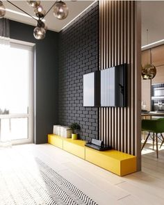 TV panel full of style! I love yellow in the environments and you? For interiors DD ⠀ ⠀ ⠀ ⠀ ⠀ ⠀ ⠀ ⠀ ⠀ ⠀ ⠀ ⠀ ⠀ Check also TV panel full of style! I love yellow in the environments and you? For interiors DD ⠀ ⠀ ⠀ ⠀ ⠀ ⠀ ⠀ ⠀ ⠀ ⠀ ⠀ ⠀ ⠀ Check also Home Design, Decor Interior Design, Interior Design Living Room, Living Room Decor, Design Ideas, Interior Modern, Interior Walls, Kitchen Interior, Living Room Partition