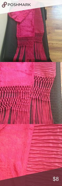 Beautiful Pink Scarf/Wrap Feels soft (almost like crushed velvet) - tassels - Nine West - length of scarf (including tassels) is about 90 inches Nine West Accessories Scarves & Wraps