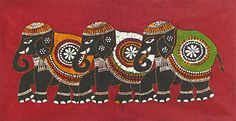 Three+Decorated+Elephants+(Batik+Painting+on+Cotton+Cloth+-+Unframed)