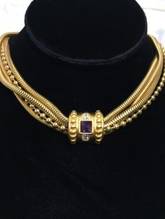 Givenchy Necklace Amethyst Rhinestone Goldtone Multi Strand Toggle Collar Signed #Givenchy #Collar