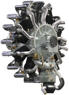 "Rear view of a Wright Whirlwind used by Charles Lindbergh to power his aircraft, the ""Spirit of St. Motor Engine, Jet Engine, Mechanical Art, Mechanical Engineering, Charles Lindbergh, Motor Radial, Radial Engine, Mig Welding, Aircraft Engine"